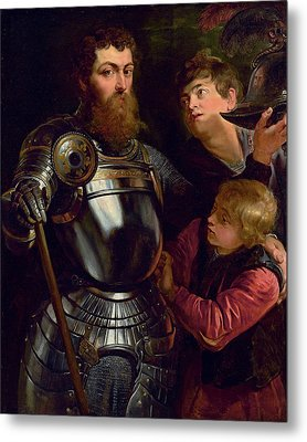 Portrait Of A Commander, Three-quarter-length, Being Dressed For Battle  Metal Print by Peter Paul Rubens