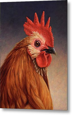 Portrait Of A Rooster Metal Print by James W Johnson