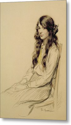Portrait Of A Young Girl Metal Print by Frederick Pegram