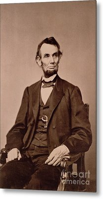 Portrait Of Abraham Lincoln Metal Print by Mathew Brady