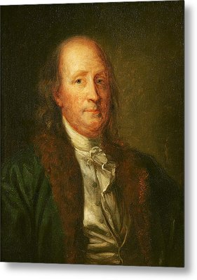 Portrait Of Benjamin Franklin Metal Print by George Peter Alexander Healy
