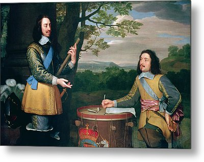 Portrait Of Charles I And Sir Edward Walker Metal Print by English School