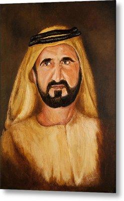 Portrait Of His Highness Sheikh Mohammed Bin Rashid Al Maktoum - Ruler Of Dubai Metal Print by Remy Francis
