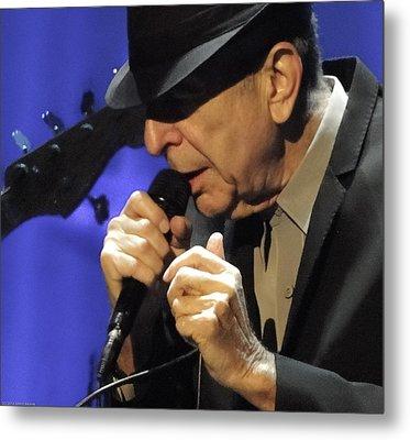 Portrait Of Leonard Cohen In Concert Metal Print by John C Bourne