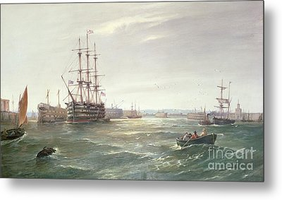 Portsmouth Harbour With Hms Victory Metal Print by Robert Ernest Roe