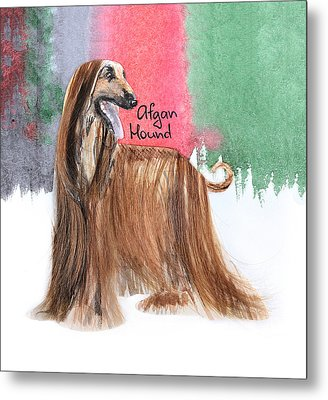 Watercolor Postcard Dogs Afgan Hound Metal Print by Maryna Lievshyna