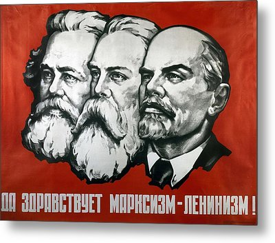 Poster Depicting Karl Marx Friedrich Engels And Lenin Metal Print by Unknown