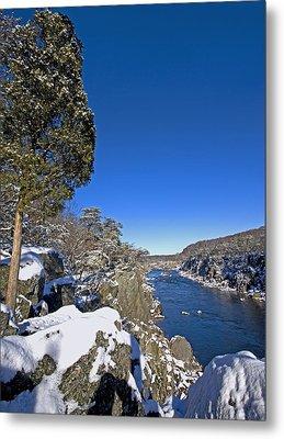 Potomac River At Great Falls National Park During Winter Metal Print by Brendan Reals