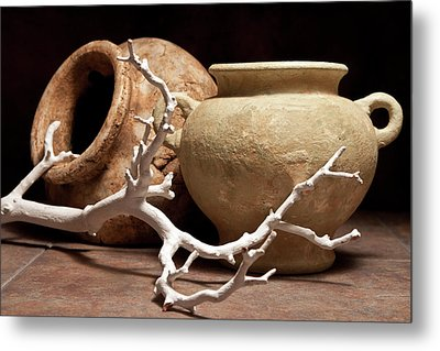 Pottery With Branch II Metal Print by Tom Mc Nemar