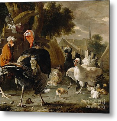 Poultry Yard Metal Print by Melchior de Hondecoeter