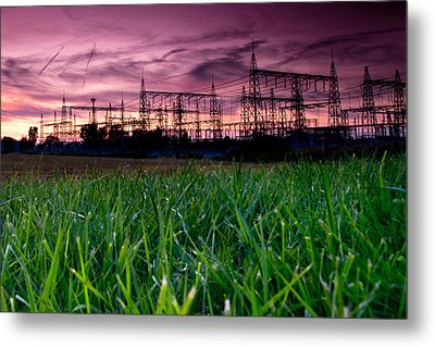 Power Lines Sunset Metal Print by Cale Best