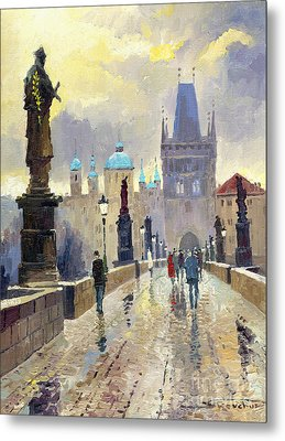 Prague Charles Bridge 02 Metal Print by Yuriy  Shevchuk