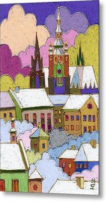 Prague Old Roofs Prague Castle Winter Metal Print by Yuriy  Shevchuk