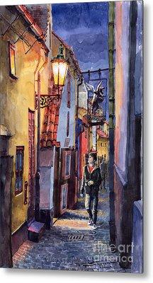 Prague Old Street Golden Line Metal Print by Yuriy  Shevchuk