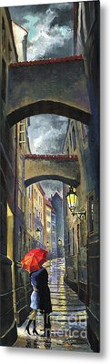 Prague Old Street Love Story Metal Print by Yuriy  Shevchuk