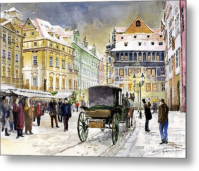 Prague Old Town Square Winter Metal Print by Yuriy  Shevchuk