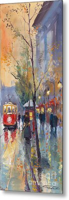 Prague Old Tram Vaclavske Square Metal Print by Yuriy  Shevchuk