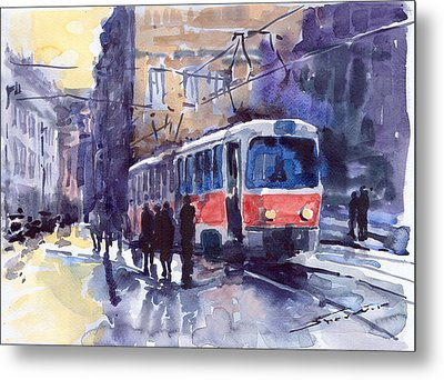 Prague Tram 02 Metal Print by Yuriy  Shevchuk