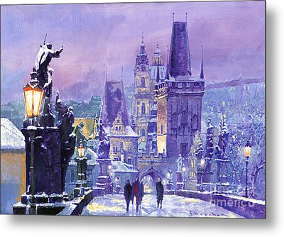 Prague Winter Charles Bridge Metal Print by Yuriy Shevchuk