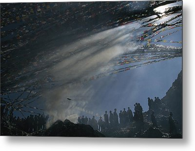 Prayer Flags Are Raised During Losar Metal Print by Maria Stenzel