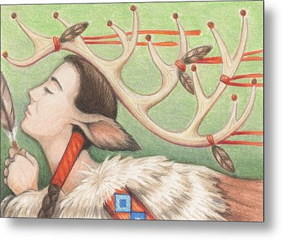 Prayer Of Elk Woman Metal Print by Amy S Turner