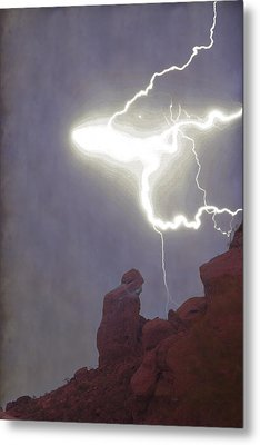Praying Monk Lightning Burst Of Energy From Above Metal Print by James BO Insogna