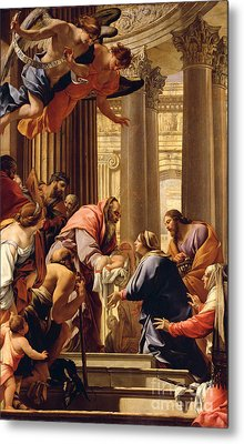 Presentation In The Temple Metal Print by Simon Vouet
