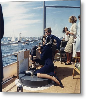 President And Jacqueline Kennedy Watch Metal Print by Everett