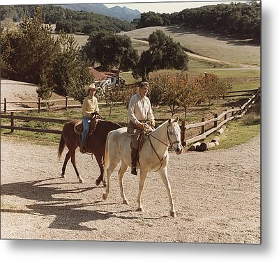 President And Nancy Reagan Horseback Metal Print by Everett