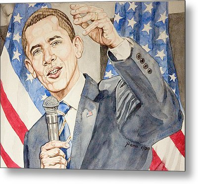 President Barack Obama Speaking Metal Print by Andrew Bowers
