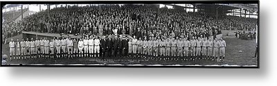 President Coolidge And The Washington A.l. And New York N.l. World's Series Baseball Teams Metal Print by Panoramic Images