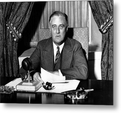 President Franklin Roosevelt Metal Print by War Is Hell Store