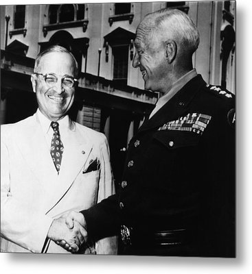 President Harry Truman, Shaking Hands Metal Print by Everett
