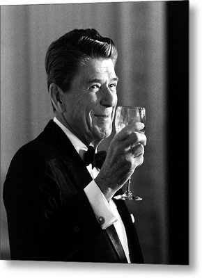 President Reagan Making A Toast Metal Print by War Is Hell Store