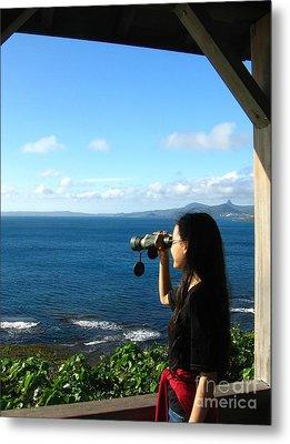 Pretty Girl Looking Through Binoculars Metal Print by Yali Shi