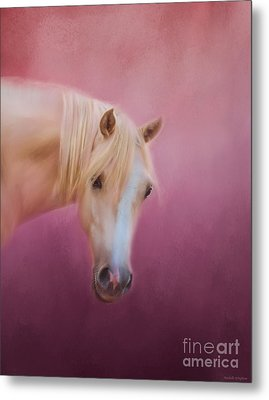 Pretty In Pink - Palomino Pony Metal Print by Michelle Wrighton