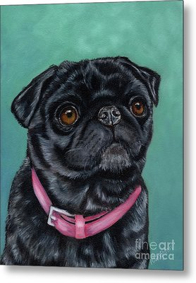 Pretty In Pink - Pug Dog Painting By Michelle Wrighton Metal Print by Michelle Wrighton