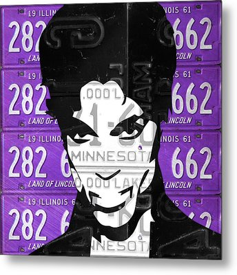 Prince Musician Portrait Made From Vintage Recycled Minnesota And Purple License Plates Metal Print by Design Turnpike