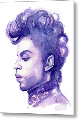 Prince Musician Watercolor Portrait Metal Print by Olga Shvartsur
