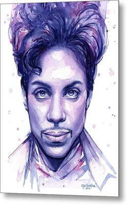 Prince Purple Watercolor Metal Print by Olga Shvartsur
