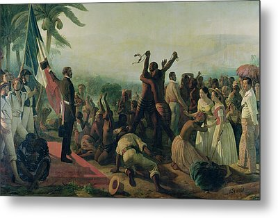 Proclamation Of The Abolition Of Slavery In The French Colonies Metal Print by Francois Auguste Biard