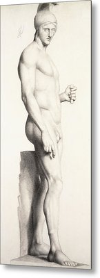 Profile Of A Sculpture Of A Warrior With A Helmet Metal Print by Georges Pierre Seurat
