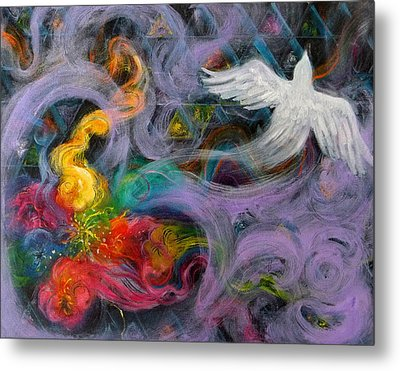 Prophetic Message Sketch Painting 10 Divine Pattern Dove Metal Print by Anne Cameron Cutri