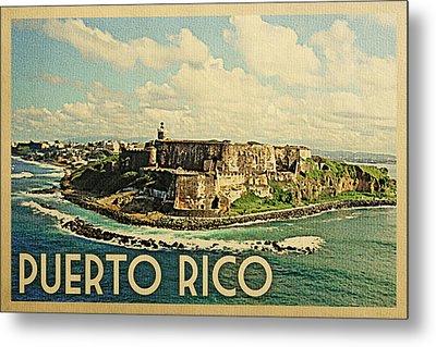 Puerto Rico Travel Poster - Vintage Travel Metal Print by Flo Karp