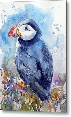 Puffin With Flowers Metal Print by Kovacs Anna Brigitta