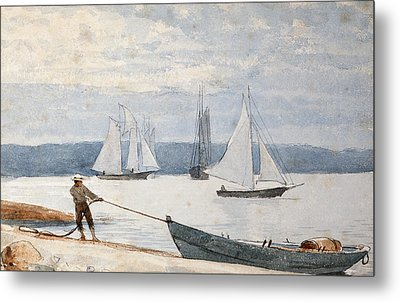 Pulling The Dory Metal Print by Winslow Homer