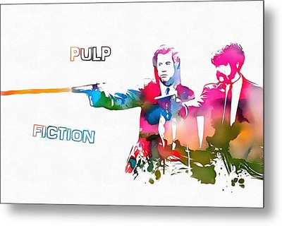 Pulp Fiction Watercolor Paint Splatter Metal Print by Dan Sproul