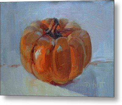 Pumpkin Alone  Metal Print by Donna Shortt