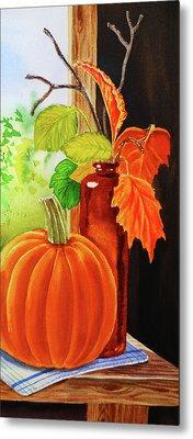 Pumpkin And Fall Leaves Metal Print by Irina Sztukowski