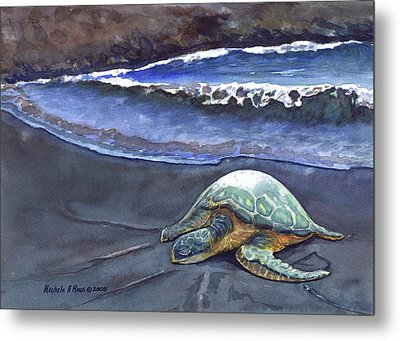 Punaluu Honu Beach Nap Metal Print by Michele Ross